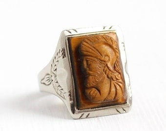 10k Antique Victorian Mens Gentlemens Tigers Eye Cameo Ring