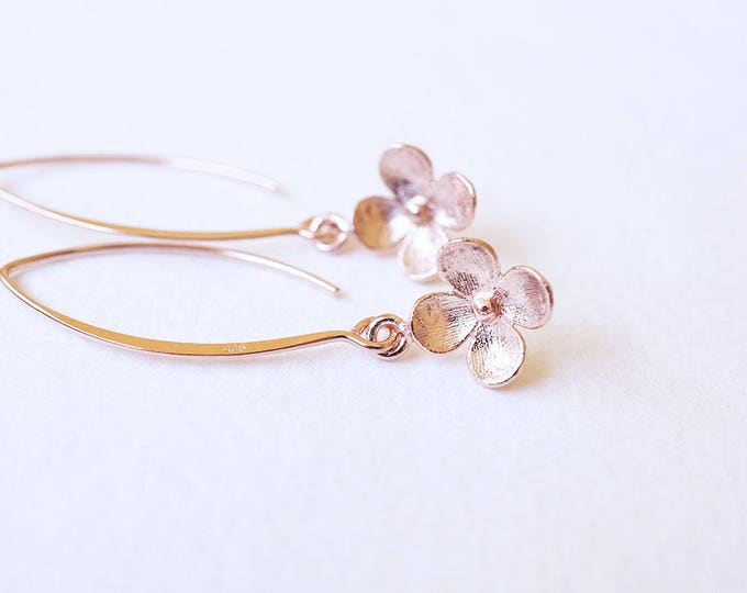 Featured listing image: Earrings, Rose Gold Earrings, Dangle Earrings, Drop Earrings, Flower Earrings, Long Earrings, Handmade Earrings, Bridesmaid Earrings, Gift