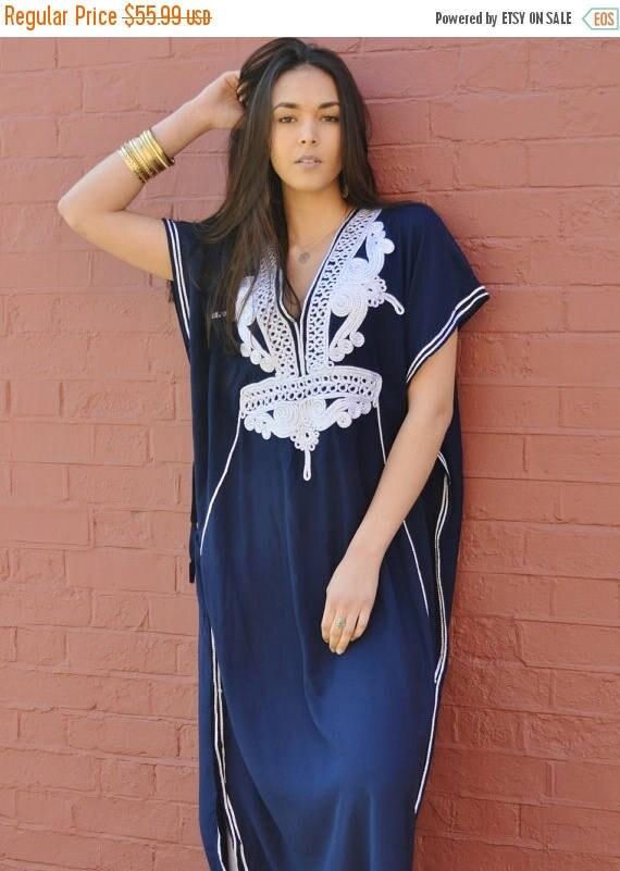 Kaftan Navy Blue with Silver Boho Marrakech Resort Caftan Kaftan -beach cover ups, resortwear,loungewear, beach wedding, Ramadan, Eid