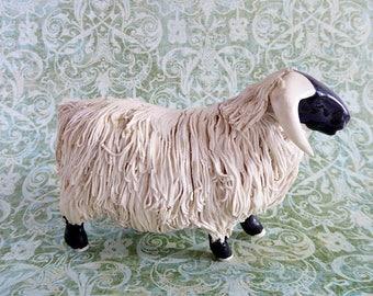 Scottish Blackface Sheep Figurine, Spaghetti Art Ware