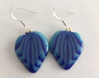 Earrings - teardrop fused glass in turquoise and blue