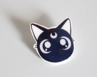 Sailor Moon Luna Shrink Plastic Pin Black Cat
