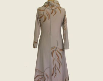 Hand Tailored Cowlneck Dress, Painted with Asian Motif