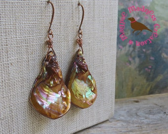 Large Copper Mother of Pearl Teardrop Dangle Earrings, Copper Shell Teardrop Earrings, Natural Shell, Copper,  by MagpieMadness for Etsy