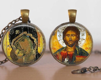 Russian Orthodox Icon Necklace  Double Sided Virgin Mary Jesus Christ Icon Religious Christian Jewelry