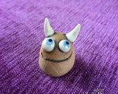 Meep Monster - hand sculpted stoneware ceramic buddy desk pet blue eyes