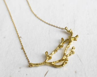 Gold Branch Necklace, Nature Necklace, Woodland, Forest Jewelry, Gold Plated Necklace, Unique Jewellery, Nature Lover Gift, Gift For Women