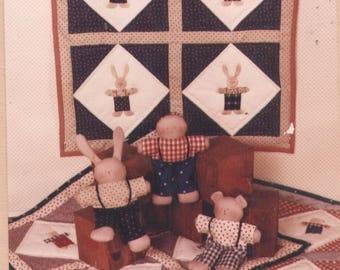 Hop, Skip and Jump Quilt and Dolls Pattern - Uncut - Q073
