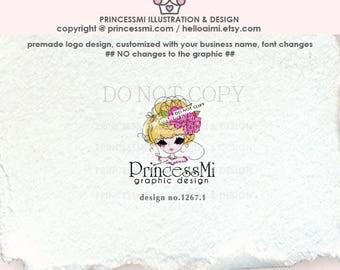 1267-1  girl logo, woman logo, Premade Logo Design,  girl fashion logo, fashion boutique logo, girl business, hair accessories, jewelry