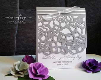 Special Occasion Wedding Delicate Die Cut Greeting Gift Card