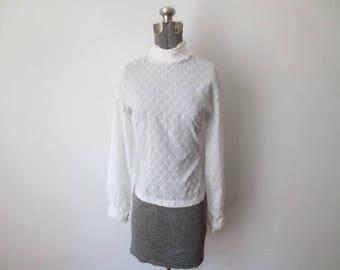 Vintage '60s Gauzy, Nearly Sheer High Collar, Back Button Boho Blouse, Medium