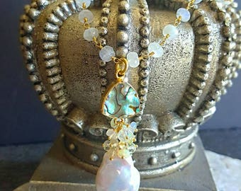 New! Large Baroque Coin Pearl Gemstone Cluster Pendant with Abalone on Moonstone Rosary Chain Gold Filled Statement Necklace Gift For Her