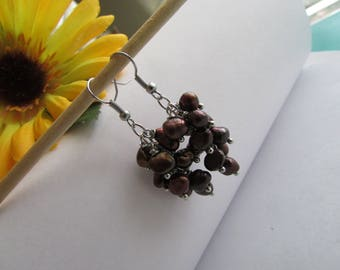 Brown Pearl Earrings,Chocolate Pearl Earrings,Baroque Pearl Earrings,Pearl Earrings,Dangle Pearl Earrings,Freshwater Pearl Earrings