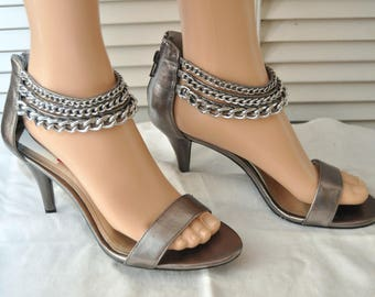 Vintage Womens Style & Co Shoes 80s 90s High Heels Chains and zippers Metallic Graphite Gray size 9 Deadstock Rocker Sandals Costume