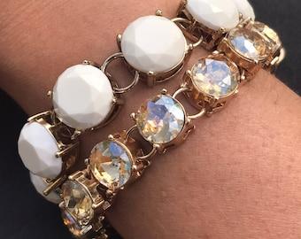 Fun flirty white enamel and gold crystal faceted white bracelet beautiful trendy wedding bracelet bridesmaid gift wedding jewelry