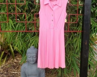 VINTAGE 1970's Pretty Pink Accordian Pleat Dress by SACONY (available)