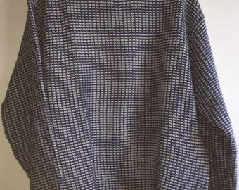 Vintage Men's Knit Sweater Scandia Woods Size Large Blue White 100% Acrylic RN#81700