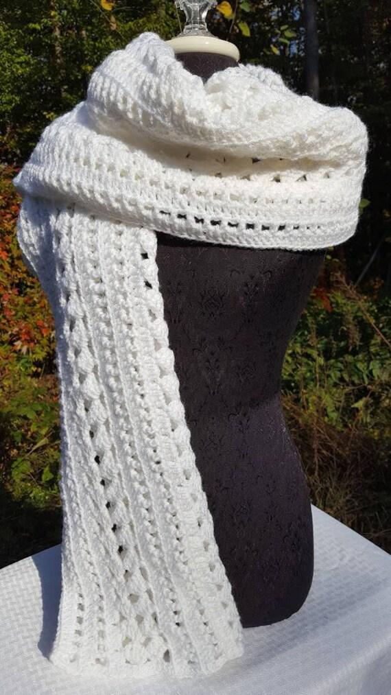 Winter white big scarf, crocheted shawl wrap, fall fashion scarf, white blanket scarf, neck warmer, stadium scarf