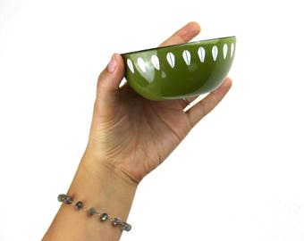Vintage Cathrineholm Lotus Bowl Olive Green with Mini White Lotus Pattern, 4 Inch Enameled Steel, Tiny Nut or Snack Serving Bowl 180091