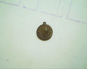 St. Benedict - Antique French Medal or Pendant - Penin - Poncet - Bronze Metal - Catholic - Holy Charm