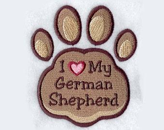 I Heart My German Shepherd Tea Towel | Embroidered Kitchen Towel | Embroidered Towel | Dog Lover Gift | Personalized Kitchen Towel