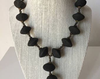 Vintage Black Lava Stone Hand Made Necklace