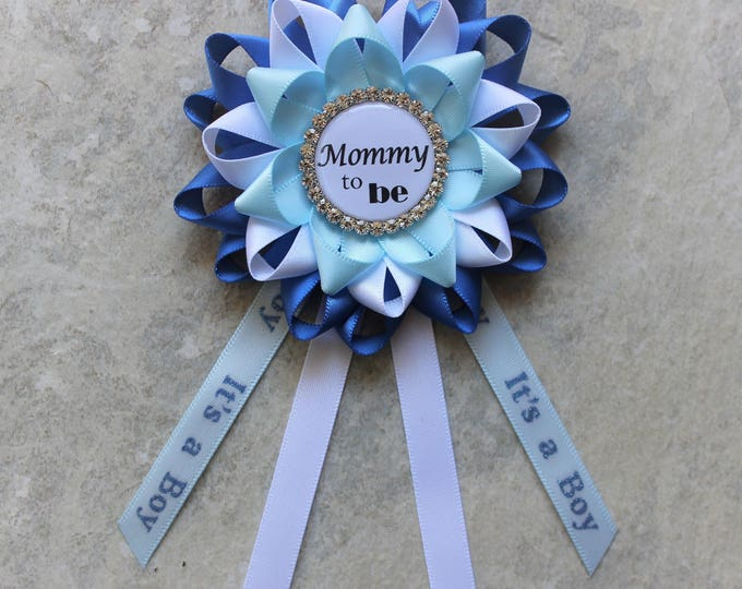 Boy Baby Shower Pin, Baby Boy Shower Corsage, Mommy to Be Corsage, Blue Baby Shower Decor, Mommy to Be Ribbon, Daddy to Be Pin, Aunt to Be