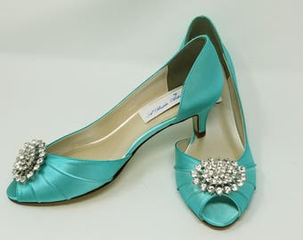 Blue Wedding Shoes Blue Bridal Shoes Crystal Oval Brooch Peep Toe Blue Kitten Heels Blue Bridesmaid Shoes