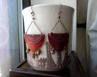 Shield with Russet Red Patina and Honey Opal Picasso Czech Glass Bead Chain Earrings, Statement, Chandelier, Dangle, Chain, Bohemian