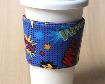 Reversible Coffee Cozy, Coffee Cup Sleeve - Superhero Comic Book Words - Ready to Ship