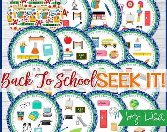 Back to SCHOOL Seek It Match Game, Classroom Party Game, Party Favor, School Days, Road Trip Game - Instant Download by Lisa