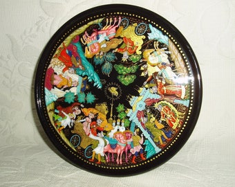 "Russian Lacquer box Palekh "" The Tale of the Golden Rooster "" Hand Painted Miniature"