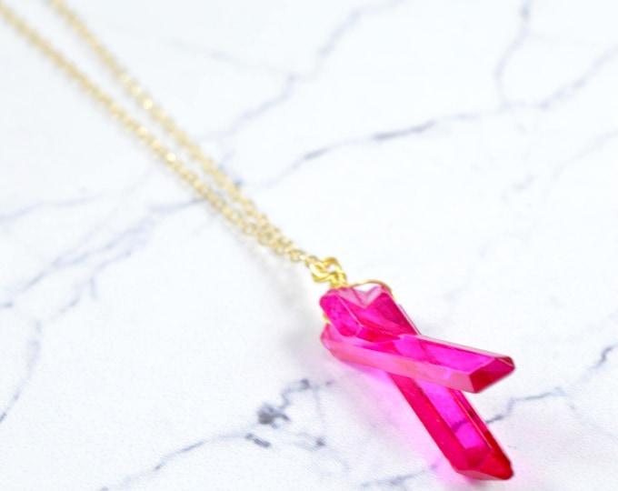 Quartz Double Point Crystal Necklace, Quartz Necklace, Crystal Pendant, Quartz Pendant, Crystal Jewelry, Rose Gold Crystal Point Necklace