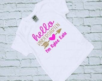 Kindergarten Shirt - Back To School Shirt - First Day of School - School Shirts - Glitter Shirts - Kindergarten - Hello Kindergarten - Girls