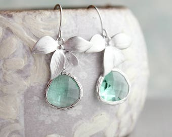 Orchid Flower Earrings Matte Silver Rhodium Erinite Seafoam Glass Jewel Floral Dangle Bridemaids Gift For Her Nickel Free Aqua Blue
