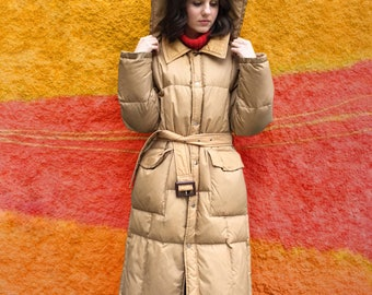 Vintage 1980's Tan Puffer Trench Coat