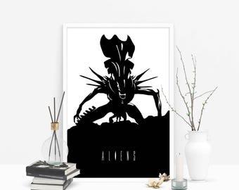 Never Trust Corporate // Aliens - Alternate Horror Movie Poster // Alien Queen Silhouette Illustration in Black and White