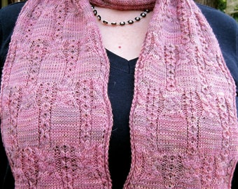 Knit Scarf Pattern:  Nakama Cabled Scarf Knitting Pattern