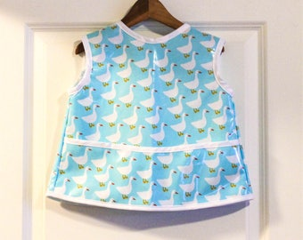 Toddler Baby Feeding Bib Art Smock in Light Blue with Geese