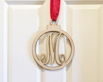 Monogram Christmas Bulb Door Sign, Initial door sign, Holiday door sign, personalized door sign, home decor, wood wall art hanging