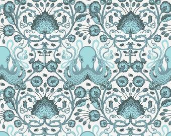 Tula Pink Octopus, OCTO GARDEN, Salt Water, Octopus Nautical Decor, Nautical Nursery, Beach Decor, Sea, Ocean, Cotton Fabric, By the Yard