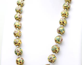"""Vintage Cloisonné Hand Knotted Gold Ball Necklace with 14k yellow gold Clasp 24"""""""