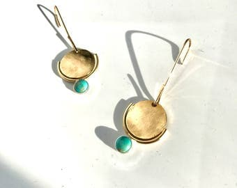 P I N G A  Geometric Turquoise Drop Earrings