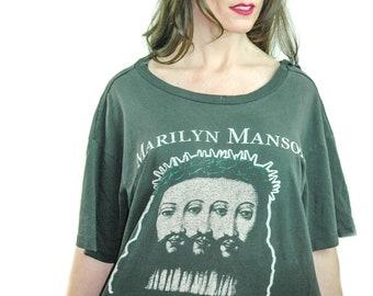Vintage Marilyn Manson shirt Hear No Truth Speak No Truth Believe Concert shirt Band tee Goth shirt Gothic shirt Death Metal Jesus 1998 XL