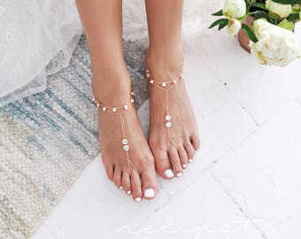 Barefoot Sandals/Rose Gold Anklet/Minimalist Foot Jewelry/Foot Thong/Boho Sandals/Gypsy Sandals/Bohemian Foot Wear/Feet Jewelry/KAEL design