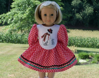 """18"""" Size/  Embroidered Christmas Dress Fits  American Girl or Other 18"""" Doll"""