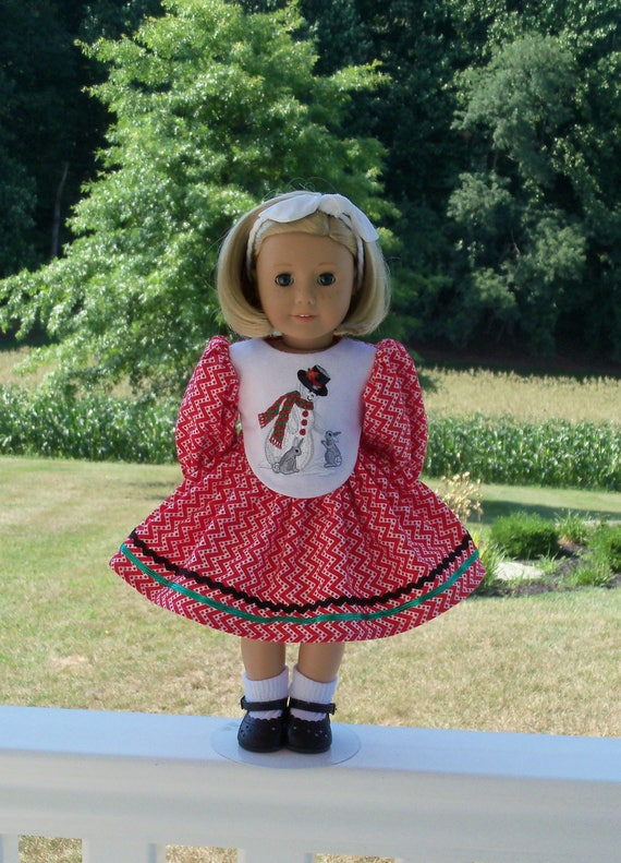 "SUPER SATURDAY SALE!  18"" Size/  Embroidered Christmas Dress Fits  American Girl or Other 18"" Doll"