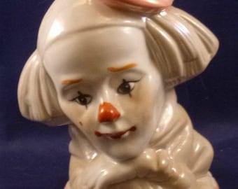 Vintage Clown Head Figurine, 1980s
