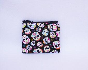 Mini Sugar Skulls print Coin Bag// Dia De Los Muertos (Day of the Dead) Sugar Skulls