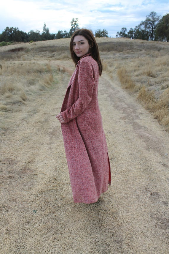 RASPBERRY Rad 90's Long Coat Red Tweed Fall Outerwear Size Large